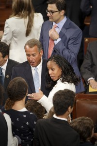 Rep.-elect Mia Love R-Utah, greets House Speaker John Boehner of Ohio, on Capitol Hill in Washington, Tuesday, Jan. 6, 2015, before officially being sworn in as the House of Representatives gathered for the opening session of the 114th Congress. (AP Photo/J. Scott Applewhite)
