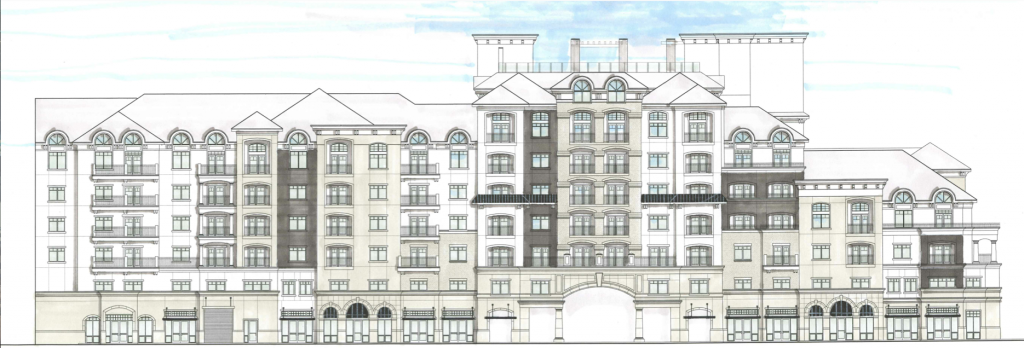 An artist's rendering of the south side of Midtown 360's north tower. Midtown Village has been renamed Midtown 360 since construction plans resumed in fall 2014. (The Ritchie Group)