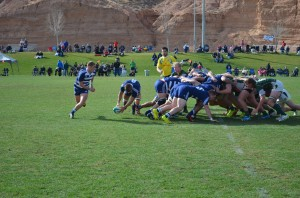 Sophomore No. 8 Hayden Johnson passes the ball to junior scrum half Luke Mocke after winning a scrum against Cal Poly. The Cougars beat the Mustangs 74-5 on January 31 in Mesquite, Nevada. (Josh Jamias)