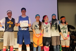 BYU and AME team (Academy for Math and Engineering- high school in  Utah) sport retro jerseys at the Anatomy Games. (Jenie Skoy)