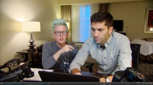 Nev Schulman, right, and celebrity Tyler Oakley research online to discover more about a potential catfish. Schulman created MTV's Catfish show after being catfished himself. (Screenshot)