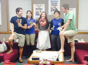 """Former full-time missionary Alexis Conley laughs with students from the University of Florida YSA ward. Conley served for a time on the UF campus. """"It can be so easy to act 'normal' when it's people your age, but you have to keep a missionary attitude,"""" she said. (Courtesy of Alexis Conley)"""
