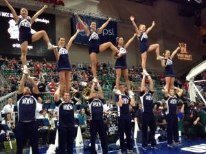 BYU Spirit Squad during the WCC men's basketball championship game. (Tori Crane)