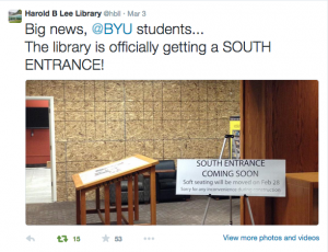 The Harold B. Lee Library has announced construction on a south entrance. (Twitter)