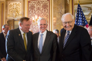 Elder D. Todd Christerofferson and Elder L. Todd Perry of the Quorum of the Twelve discuss the nondiscrimination and religious freedom bill with Sen. Jim Debakis. (William Glade)