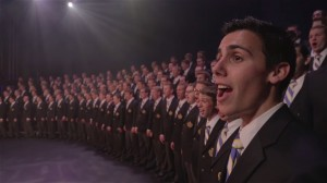 """Members of the BYU Men's Chorus sing with Vocal Point and James Stevens in the viral YouTube video titled """"Nearer My God To Thee."""" The Men's Chorus will sing in Salt Lake at General Conference this year. (Screenshot)"""