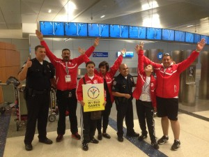 A Special Olympics delegation from Egypt celebrates the opportunity to participate in the Special Olympics Summer World Games.