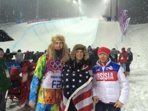 Luke Salisbury stands with Russian friends at the 2014 Sochi Olympics. (Luke Salisbury)
