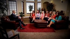 Dr. Phil McGraw meets with seven of the women affected by the BYU catfish. The women met the catfish in person for the first time on the show, which aired April 24. (YouTube Screenshot)