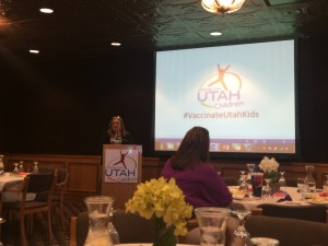 Frankie MIlley, Founder and National Executive Director of Meningitis Angles, was the keynote speaker at an event hosted by Voices for Utah Children. Milley is a supporter of the new rulling that every seventh grade student in Utah should be vaccinated against meningitis. (Hannah Maines)