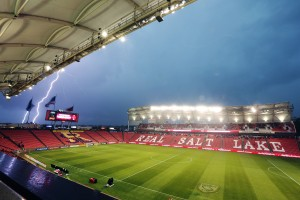 Lightning strikes during the game between Real Salt Lake and the LA Galaxy Wednesday, May 6, 2015, due to severe weather in the area at Rio Tinto Stadium in Sandy Utah. The game was delayed for over an hour.  (AP)