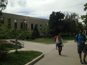 Students walking to the BYU Testing Center. Student anxiety over exams is increasing according to students in the survey. (Sadie Blood)