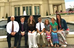 (Chip McNall)  Chip McNall and his family at the Payson temple. McNall and his wife had four children while he finished his degree.