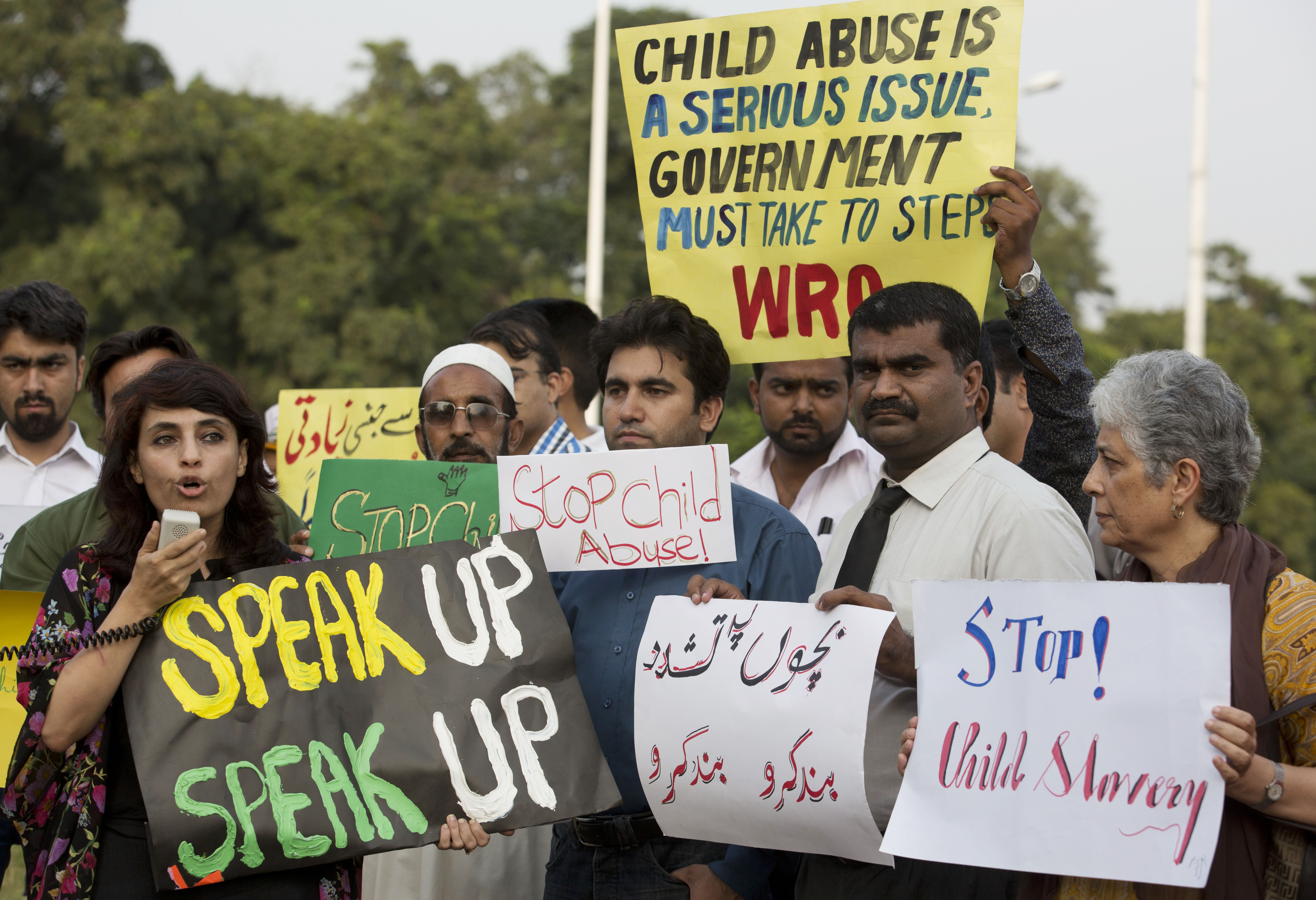 Activists from Pakistan's Child Rights Movement, rally to condemn a child  abuse scandal, Monday