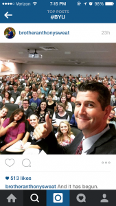 Professor Sweat took a selfie with his class on the first day of school. An increasing number of BYU professors are taking selfies with students. (Sweat)
