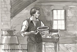 A painting of Joseph Smith translating, completed by BYU professor Anthony Sweat. Sweat said religion professors have the potential to fulfill part of BYU's mission in assisting students in their quest for perfection and eternal life. (Anthony Sweat)
