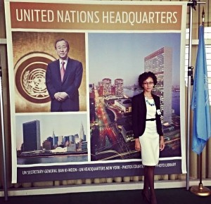Powell outside of the United Nations General Assembly in 2013.