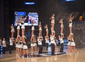 BYU Cheer performs at Boomshakalaka. The behind-the-scenes effort they make is astounding. (Maddi Driggs)