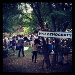 BYU Democrats gather for a social event to promote political activity.
