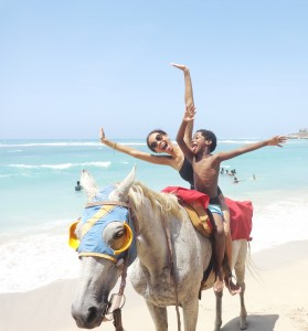 Crystal Powell and her son Reuben enjoying a Jamaican summer.