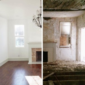 """A before/after shot of a home the Merediths worked on. """"Old Home Love"""" premieres Wednesday, Oct. 7 on DIY network. (Old Home Love)"""