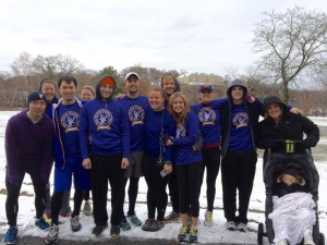 Last years participants gathered to run on Thanksgiving in Boston. Travis Lovell (seen sixth from the right) organizes the event so runners can participate throughout the world. (Travis Lovell)