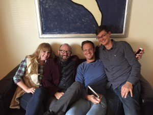 """Jenny Barlow (choreographer), Christopher Clark (Director), Stuart Maxfield (Songwriter), Andrew Maxfield (Songwriter/Producer)  are working together to create a new musical """"The Bridge,"""" which will premiere at BYU Feb. 10, 2015 (Photo: )"""