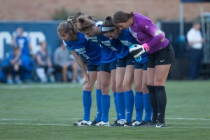 The BYU women's soccer defensive line prepares for kick off. The Cougars defensive line is first in the nation in save percentage this season and will lead the Cougars into the NCAA tournament. (Ari Davis)