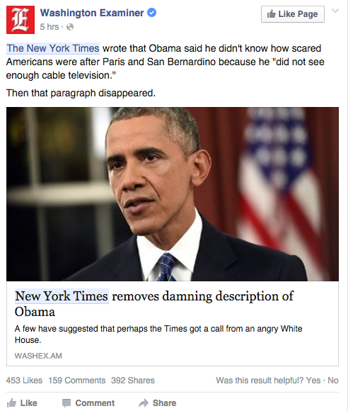 Many Facebook uses shared this post by the Washington examiner about President Obama.