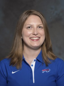 Kathryn Smith of the Buffalo Bills  is the first female to be hired as a full-time coach. (AP Photo)