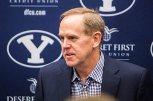 BYU AD Tom Holmoe addresses the media in his semi-annual question and answer session. (Maddi Dayton)
