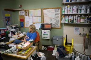 DeAnna O'Hara sits in the custodial office at Wyview Park. A custodial job might be a valuable work experience for students. (Ari Davis)