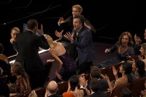 """Mark Ruffalo reacts in the audience after """"Spotlight"""" won the award for best picture at the Oscars on Sunday, Feb. 28, 2016, at the Dolby Theatre in Los Angeles. (Photo by Chris Pizzello/Invision/AP)"""