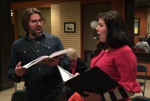 Singers Brian Stucki and Clara Hurtado-Lee from the Utah Lyric Opera rehearsing for the performance.