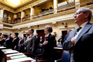 Senators stand during the national anthem on the first day of the Utah Legislature at the Capitol in Salt Lake City on Monday, Jan. 25, 2016. (Laura Seitz/The Deseret News via AP) SALT LAKE TRIBUNE OUT; MAGAZINES OUT; MANDATORY CREDIT; TV OUT