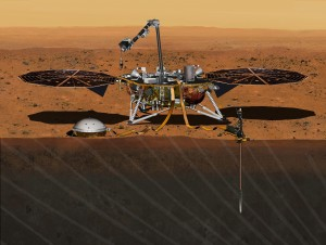 FILE - This August 2015 artist's rendering provided by NASA/JPL-Caltech depicts the InSight Mars lander studying the interior of Mars. On Wednesday, March 9, 2016, NASA said it's shooting for a 2018 launch of the InSight spacecraft. The robotic lander was supposed to lift off in March 2016, but was grounded in December by a leak in a French instrument. Project managers said the device should be redesigned in time. (NASA/JPL-Caltech via AP)