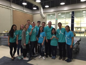 Team HBV gathered together to educate BYU students about Hepatitis B with pizza and a ping pong tournament (Annie Trumbull).