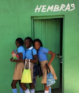 Girls pose with their Days for Girls kits in the Dominican Republic. (Days for Girls)