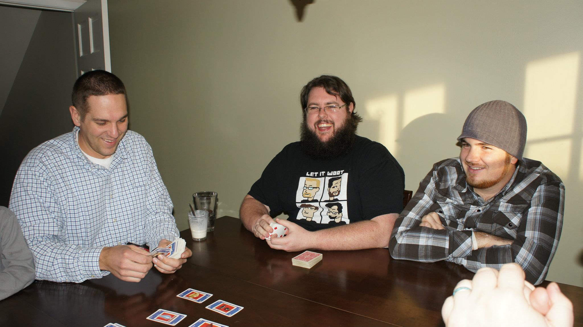 Many in James congregation consider him more than a pastor. Here, he plays games with fellow pastor Russ Robinson. (contributed by James Thompson)