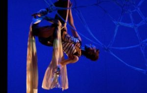 Meg Flinders performs the role of Charlotte on aerial silks (Department of Theater and Media Arts)