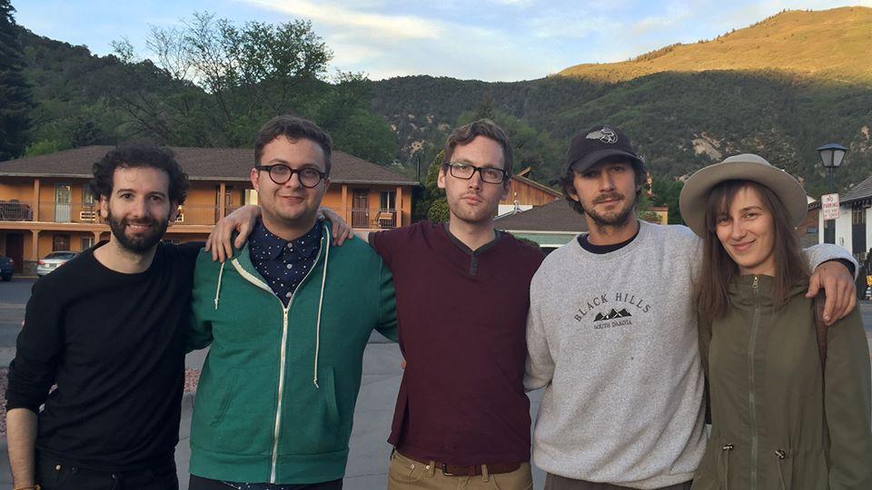 From left to right: Luke Turner, Hank Hansen, Scott Daly, Shia LaBeouf, and Nastja Säde Rönkkö pose outside in Glenwood Springs, Colorado. (Scott Daly)