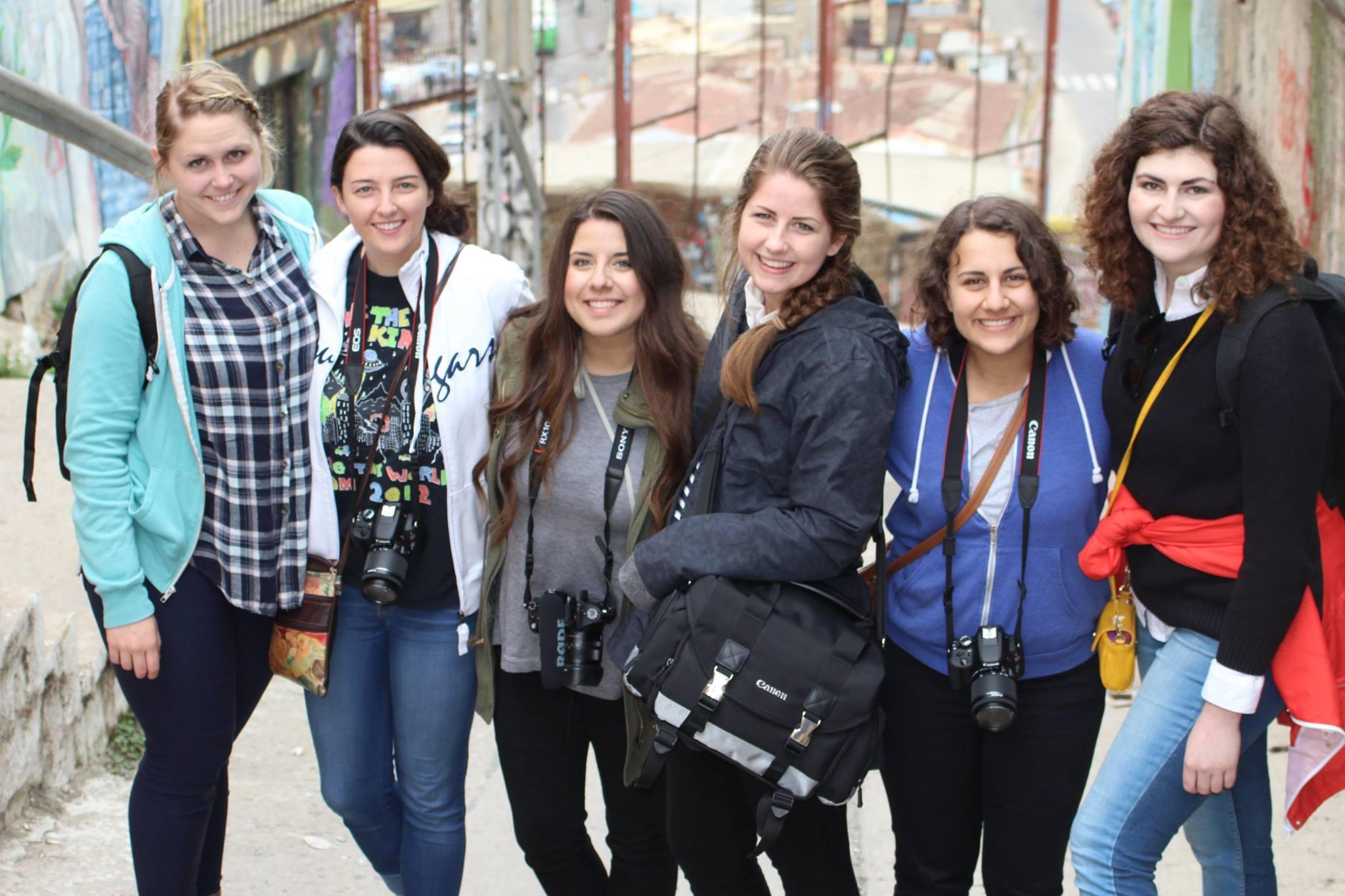Students in Chile. From left to right: Jaylen Bohman, Liesl Nielsen, Victoria Estrada, Kjersten Johnson, Jasmine Harouny and Cassidy Hansen