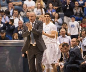 BYU men's basketball head coach Dave Rose looks on last season. The Cougars will play in the inaugural State Farm Chicago Legends event on Dec. 17, 2016. (Ari Davis)