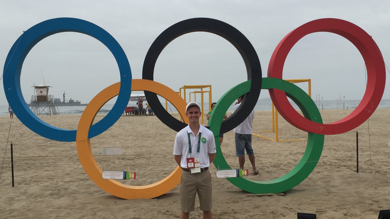 Johnny Neu all geared up to be a host at the Olympics in Rio (Vinny Patton)