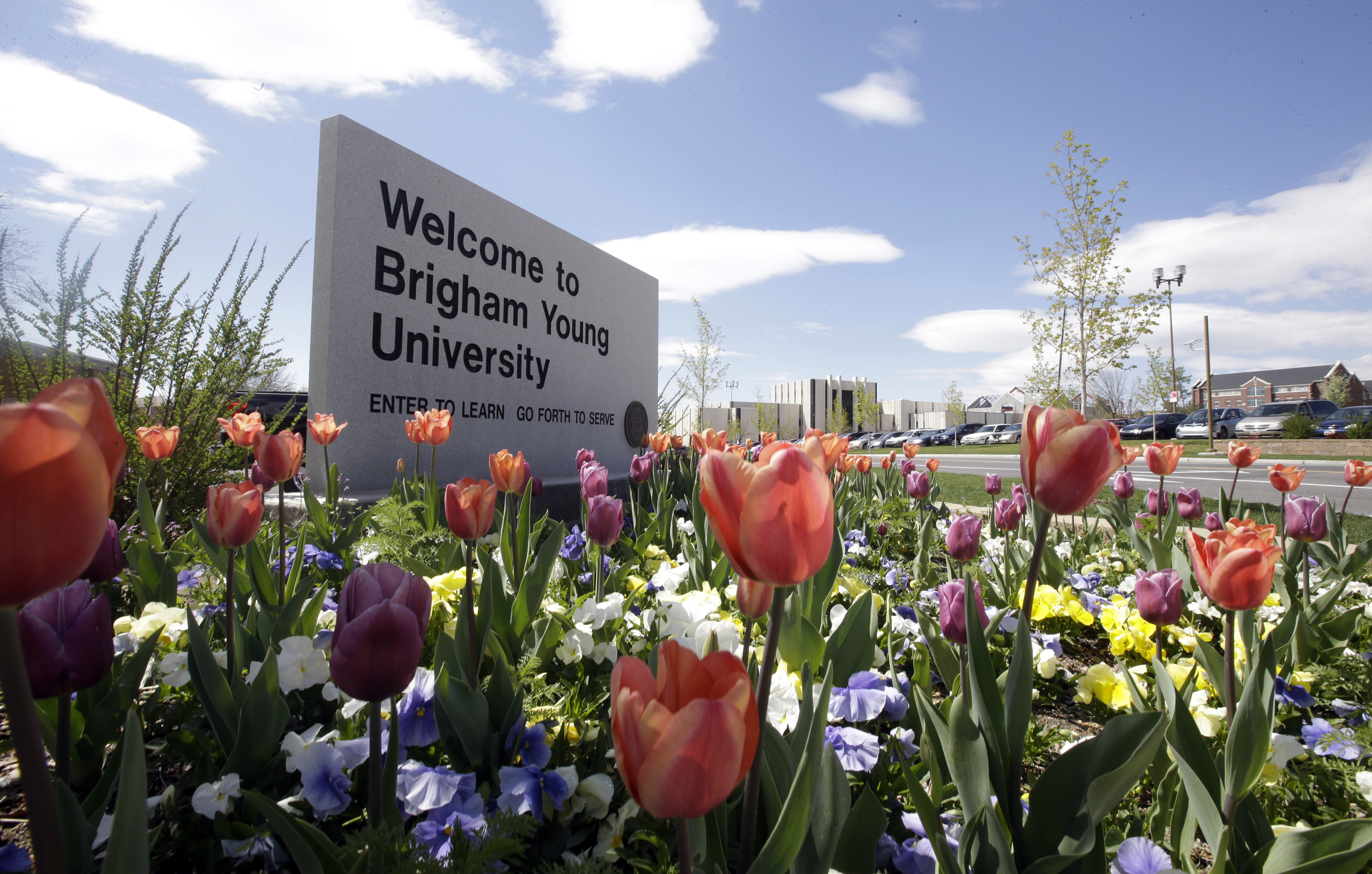 FILE - This April 19, 2016, file photo, shows a welcome sign to Brigham Young University in Provo, Utah. Brigham Young University found out Thursday, Aug. 4, 2016, that federal authorities will investigate the campus process for handling reports of sexual assault. (AP Photo/Rick Bowmer, File)