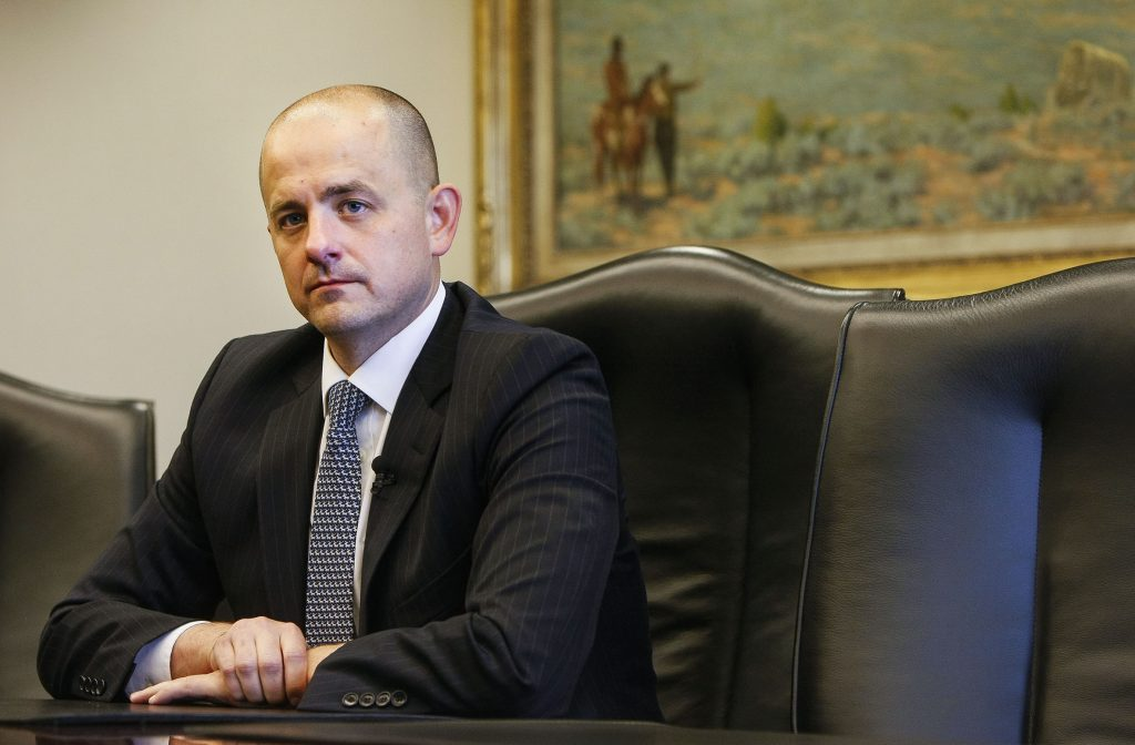 Evan McMullin, who's running for as an independent presidential bid, talks with the Deseret News and KSL editorial board in Salt Lake City on Wednesday, Aug. 10, 2016. (Weston Kenney/The Deseret News via AP)