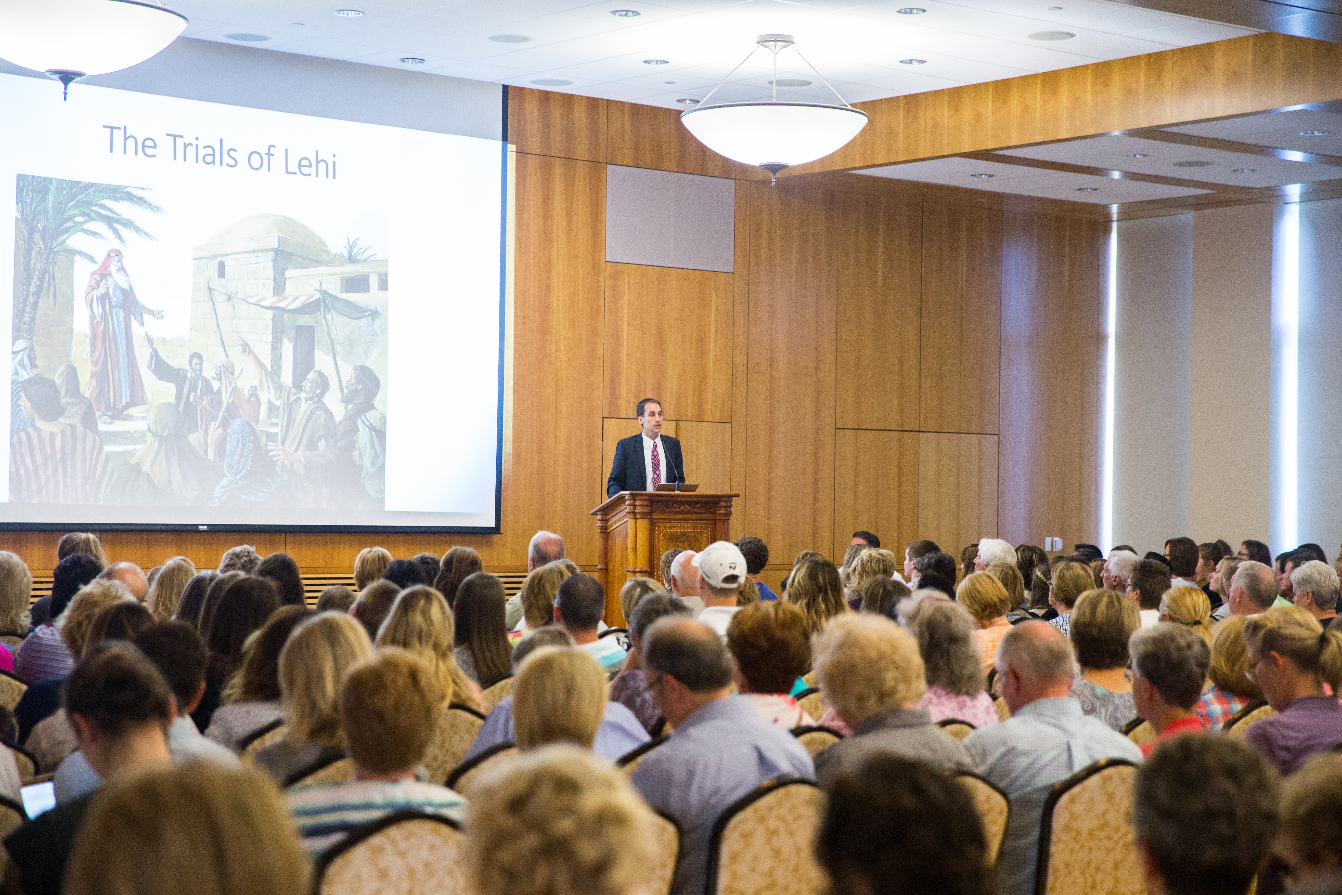John Hilton III talks about the trials that Lehi endured with his sons Laman and Lemuel. Hilton and Brad Wilcox co-taught a lesson about trials in people's lives. (Maddi Driggs)