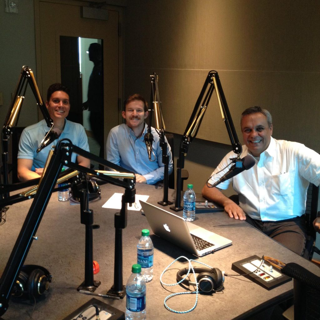 Edoardo Geurra, Kenny Baldwin, and Massimiliano Frani on a radio show called Thinking Aloud on BYU Radio