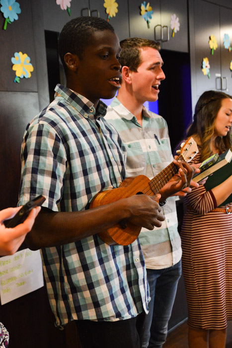 Students play the ukulele and sing at a local nursing home. This is one of the many ways students can serve senior citizens through programs like Utah Healing Arts and Adopt-a-Grandparent. (Lauren Holbrook)