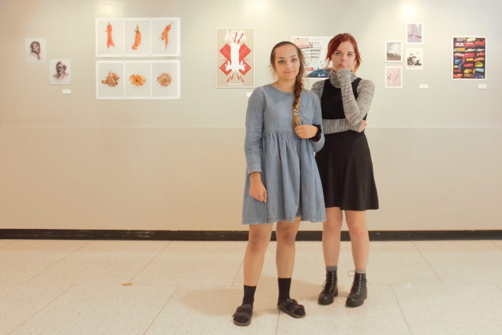 Awesome Brenna Emphy And Sariah May Are Wearing Their Wardrobe Essential: A Dress.  They Are Both Seniors Studying Media Arts. (Jeffrey Hein)